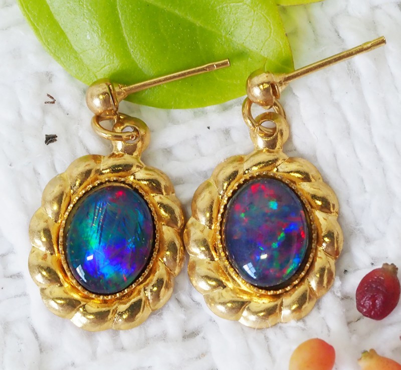 Beautiful Triplet Opal Earrings gold plated Set CF 1022