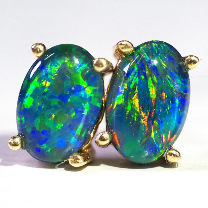 Cute Triplet Opal 14k Yellow Gold Earrings WS579