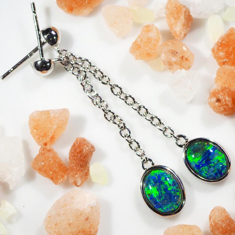 Swing  design Triplet Opal set in silver Earrings WS586