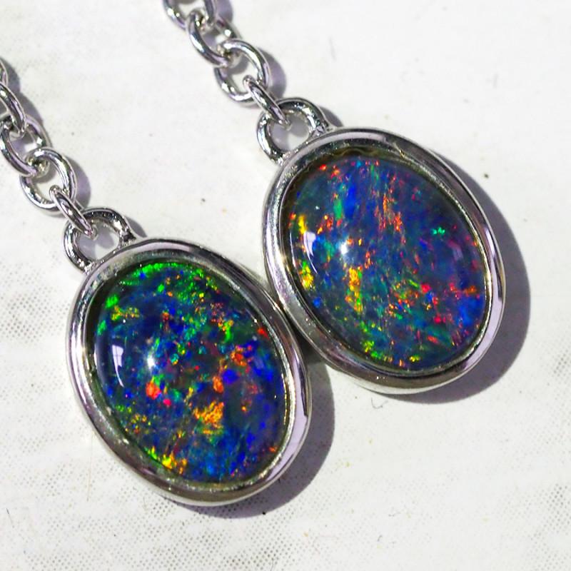 Triplet Opal set in silver  swing Earrings WS582