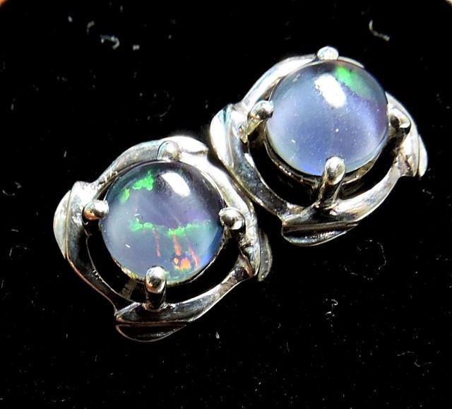 Cute Triplet opal earrings silver Pl 1086
