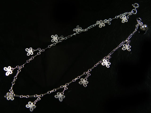 silver hallmark butterfly anklet