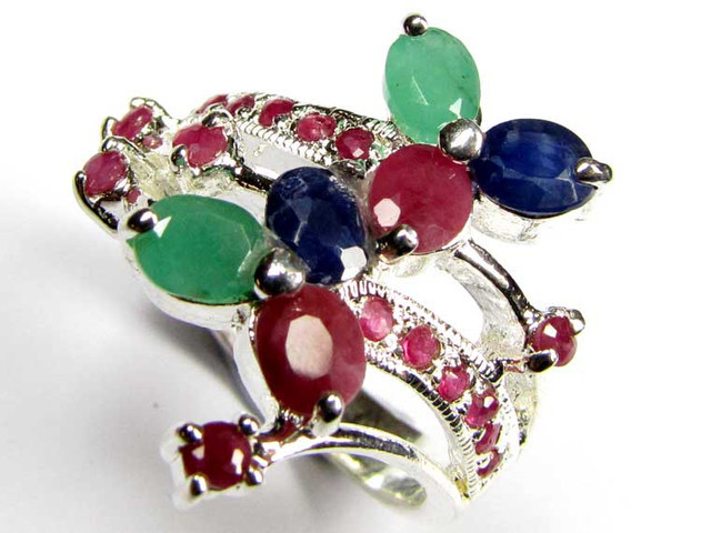 STUNNING RUBIES,SAPPHIRE AND EMERALDS 7 1/2 RING SIZE 90681