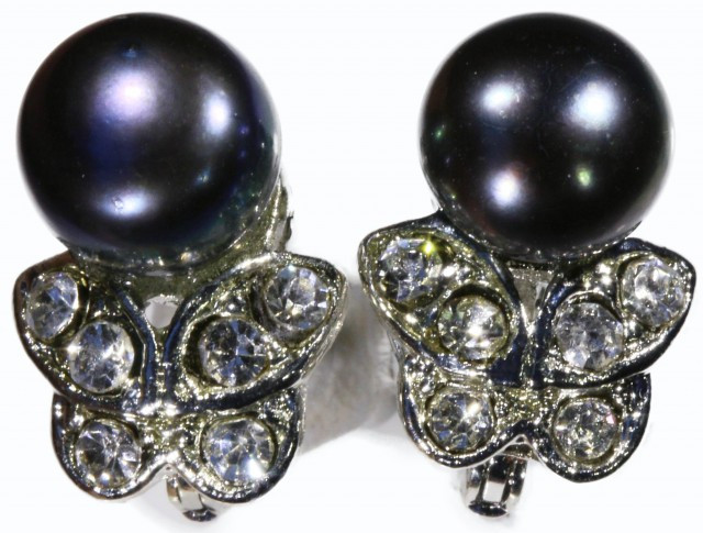 French clip 8 mm Fresh Water Pearl Earrings PPP 1236