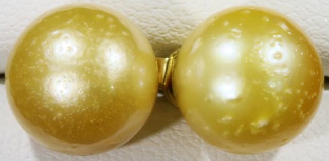 11 MM Golden Natural Pair Pearls SB 436