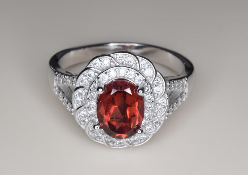Natural Garnet and Silver Ring