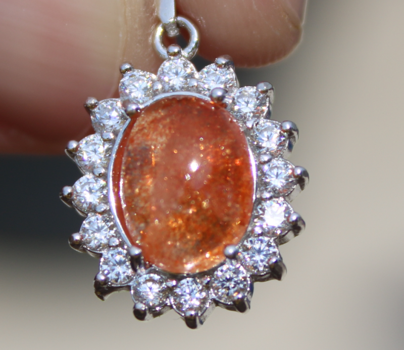 Sunstone 2.05ct,White Gold Plated,Solid Sterling Silver Pendant