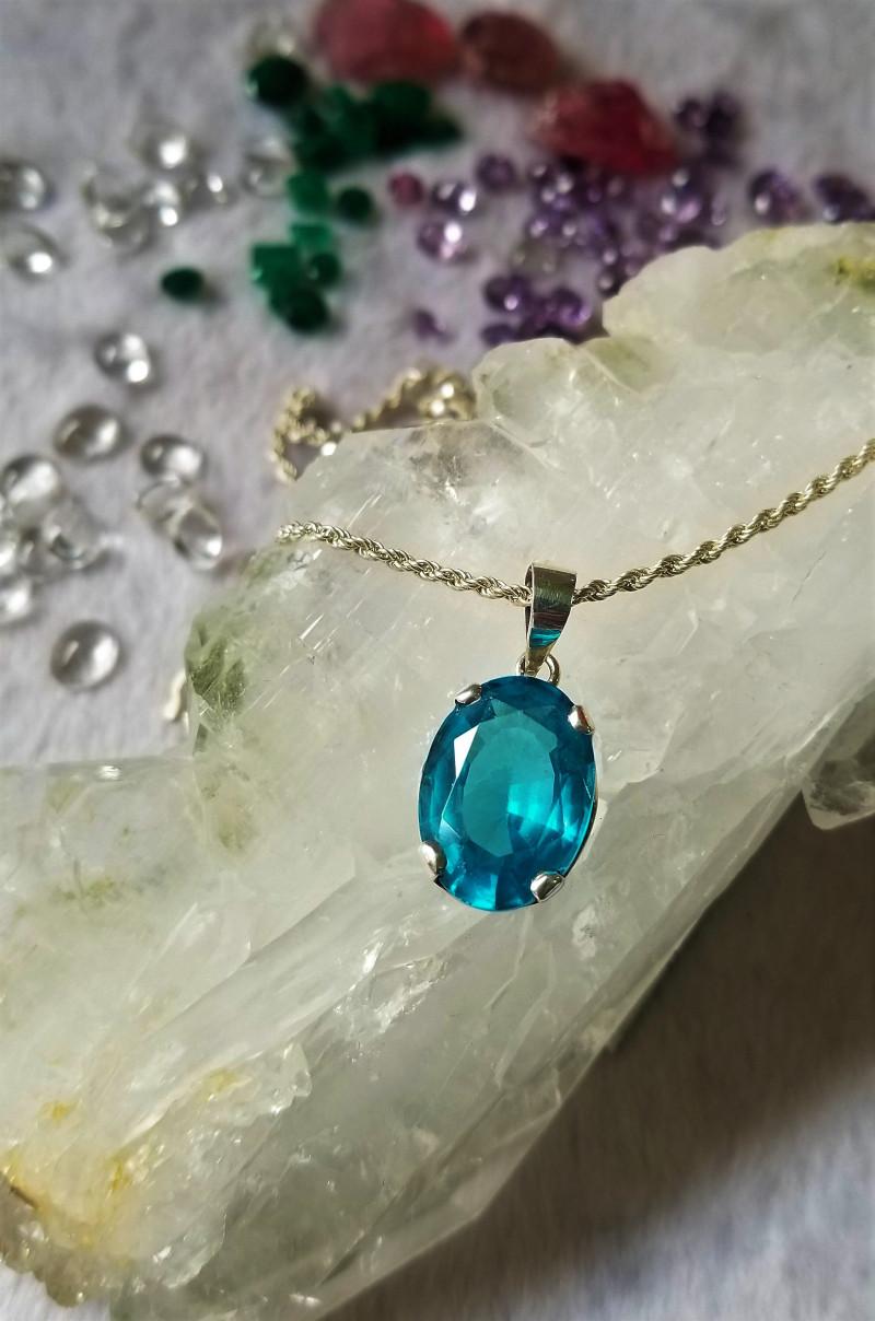 Natural Blue Topaz Pendant