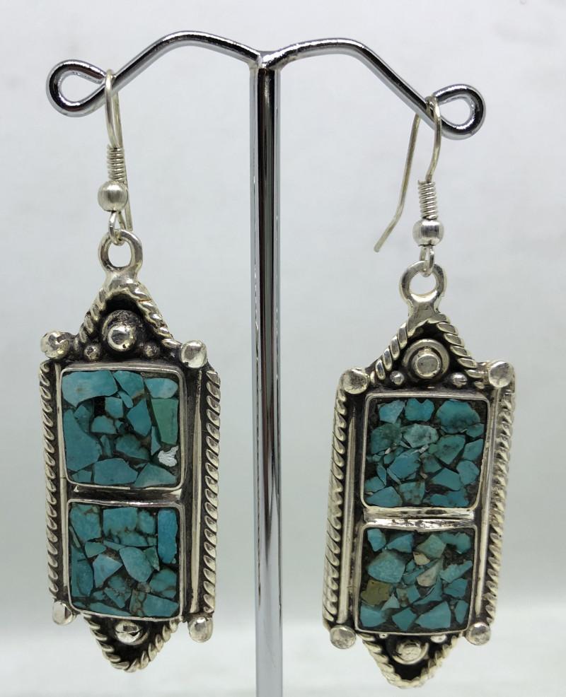 Vintage Tibetian Design Earrings  Torquise