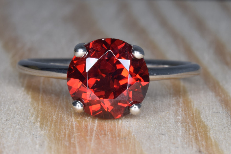 Natural Rhodolite Garnet Silver Ring