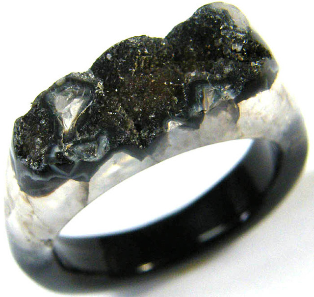 NATURAL DRUSY AGATE RING 11 SIZE 27.40 CTS [SJ362]