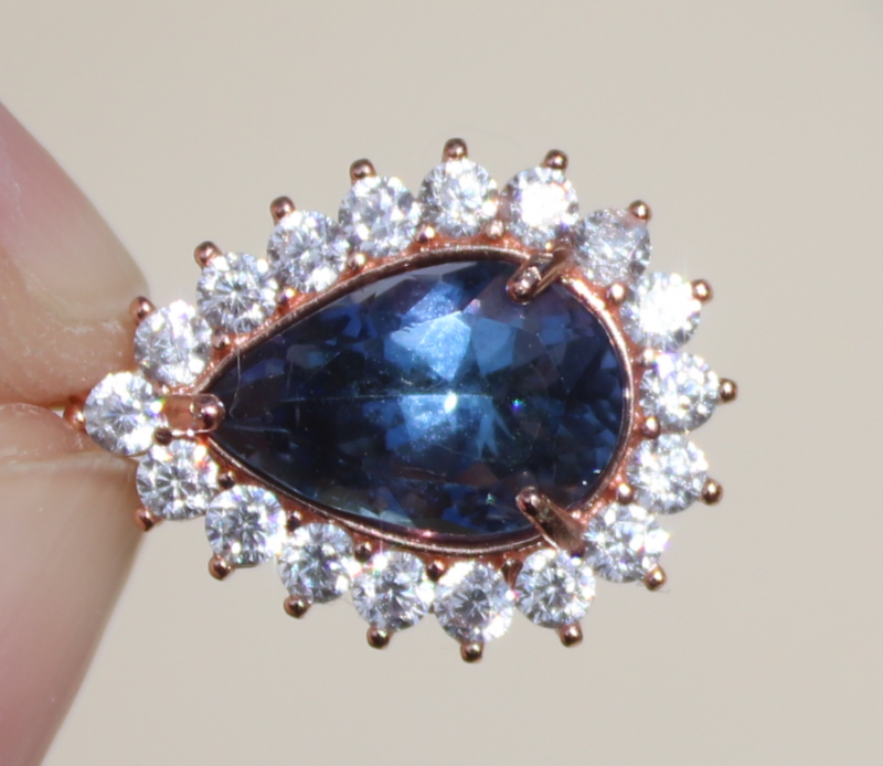Tanzanite 2.60ct,Rose Gold Plated,Solid Sterling Silver Pendant