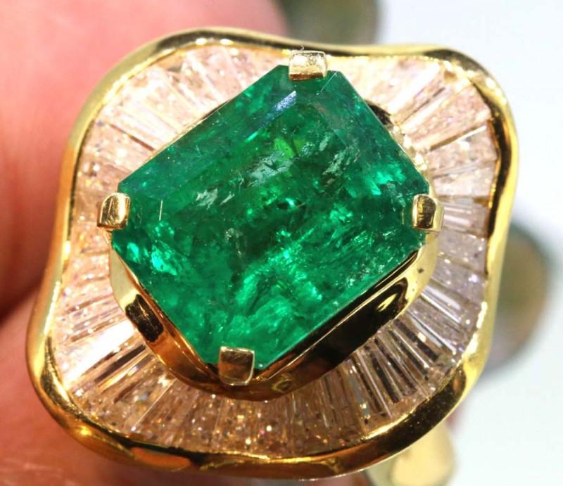 88.5 cts EMERALD GOLD DIAMOND RING/PENDANT RING-JJ
