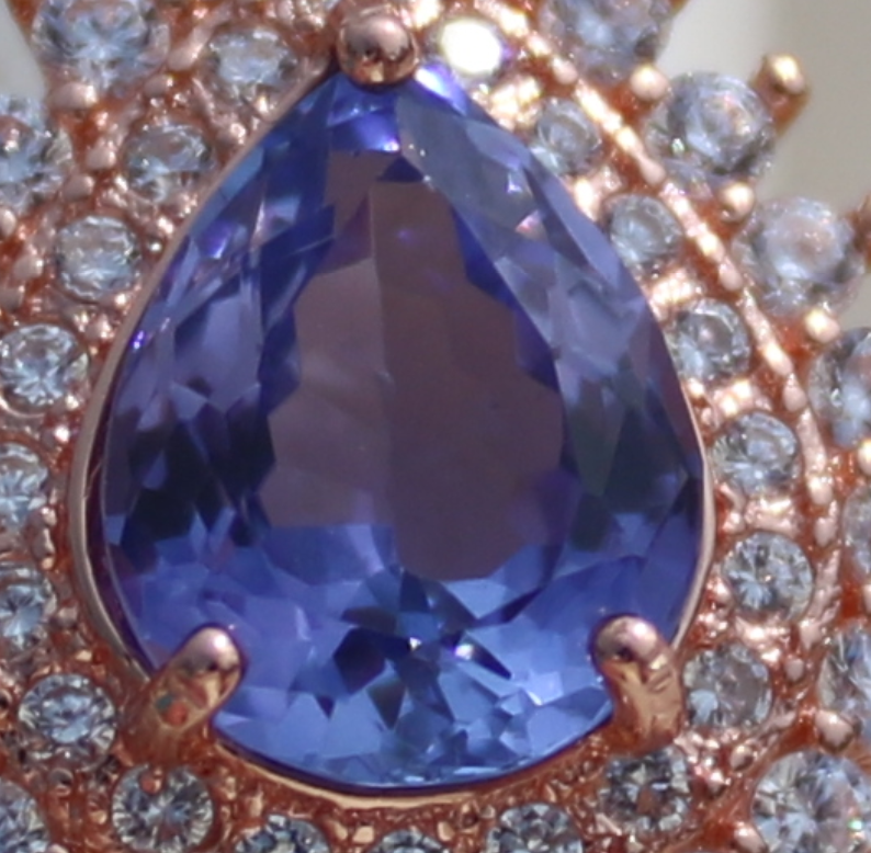 Tanzanite 1.30ct,Rose Gold Plated,Solid Sterling Silver Ring,Pear