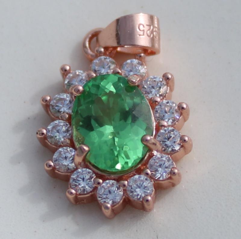 Tsavorite Garnet 1.20ct,Rose Gold Plated,Solid Sterling Silver Pendant,Oval