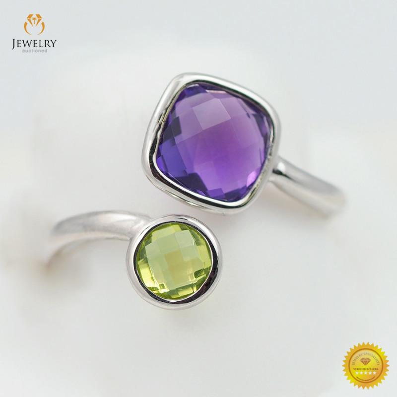 Stylish Modern 14 K White Gold Multi Gems Ring size 6.75 R10067