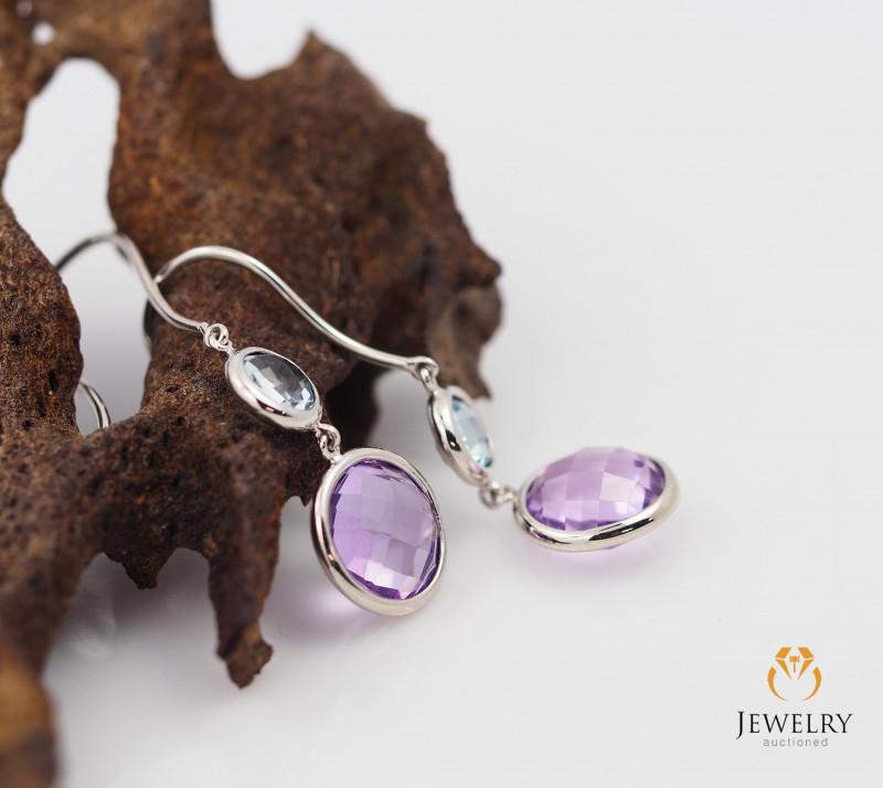White Gold Multi Gems earrings