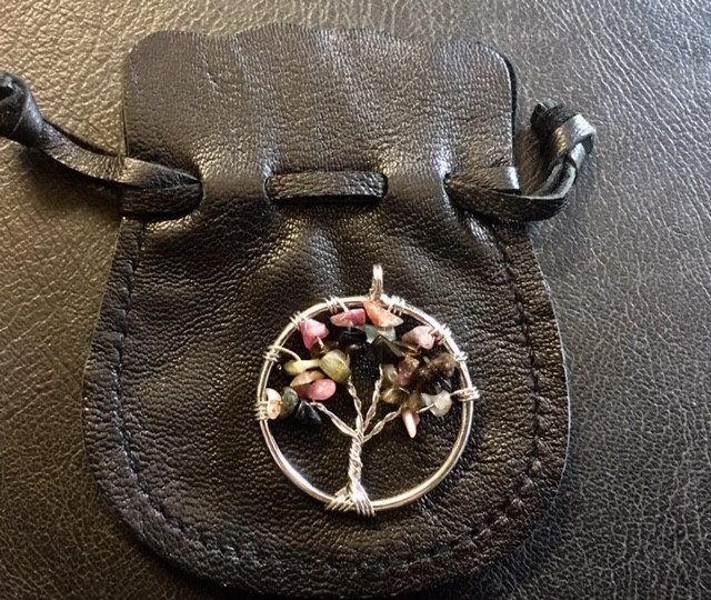 Tourmaline Tree of Life Gemstones jewelry in leather pouch AM183