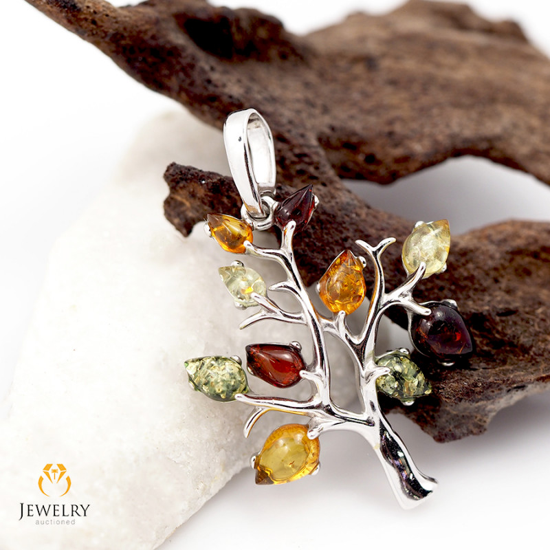 Amber -  Tree of Life - Silver Pendant  AM129