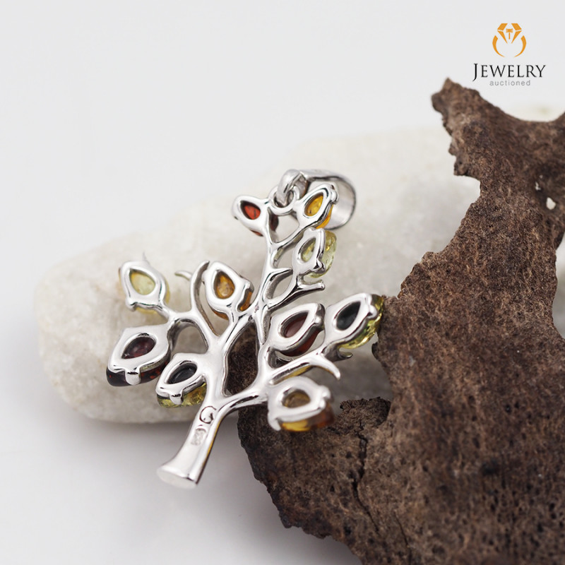 Amber -  Tree of Life - Silver Pendant  AM193