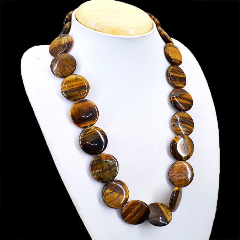 Round Golden Tiger Eye Beads Necklace