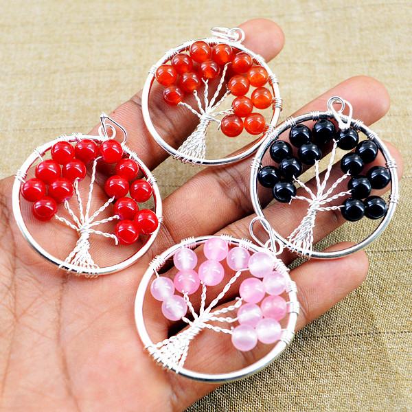 Multicolor Mix Gem Tree Pendant Lot