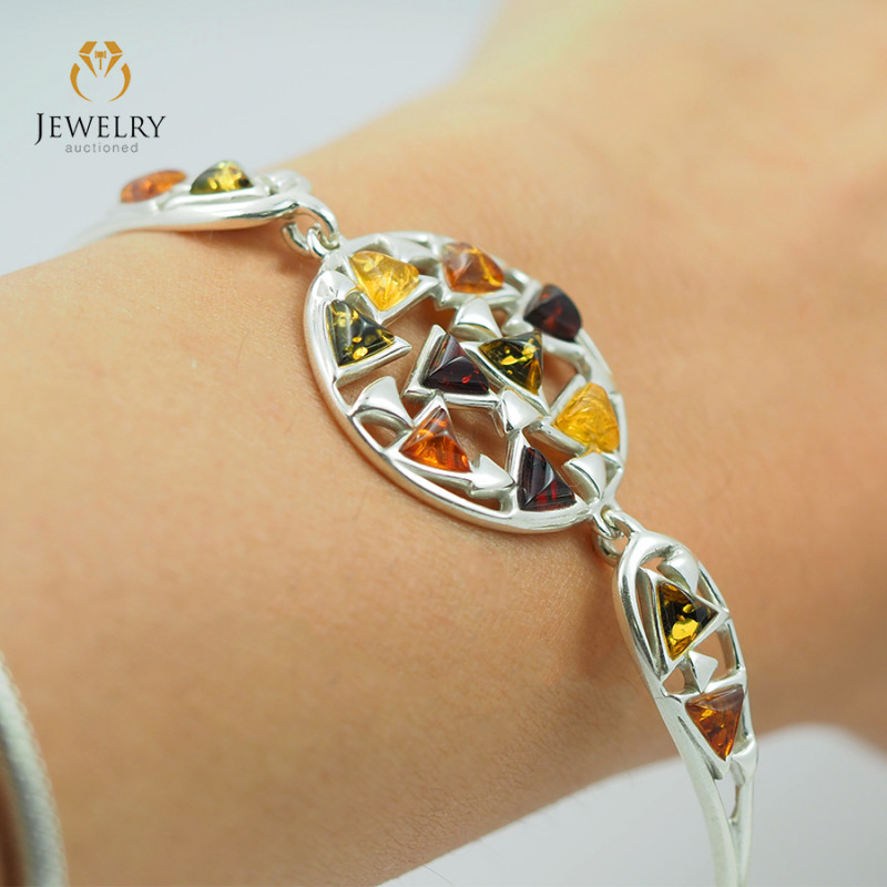 Baltic Amber Sale, Silver Bracelet , direct from Poland  AM 1829
