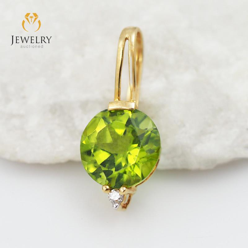 18 K Yellow Gold Peridot & Diamond Pendant P3727 YELLOW P