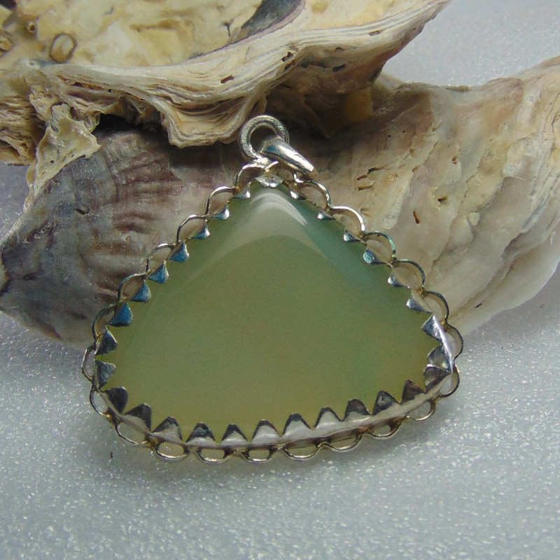 Agate pendent ~ antique stone~ fantasy silver designs 64.45cts