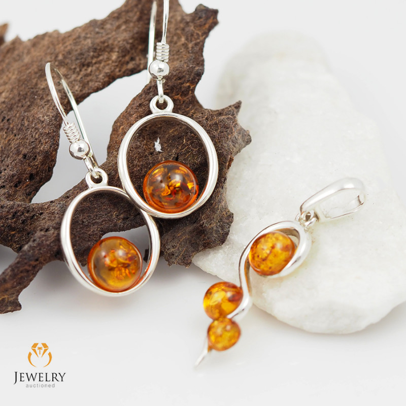 Pendant n Earring Baltic Amber Sale, Silver , direct from Poland  AM 375