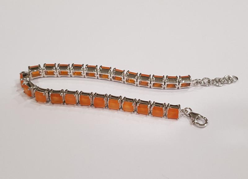 Fiery Carnelian 925 Sterling silver bracelet #33073
