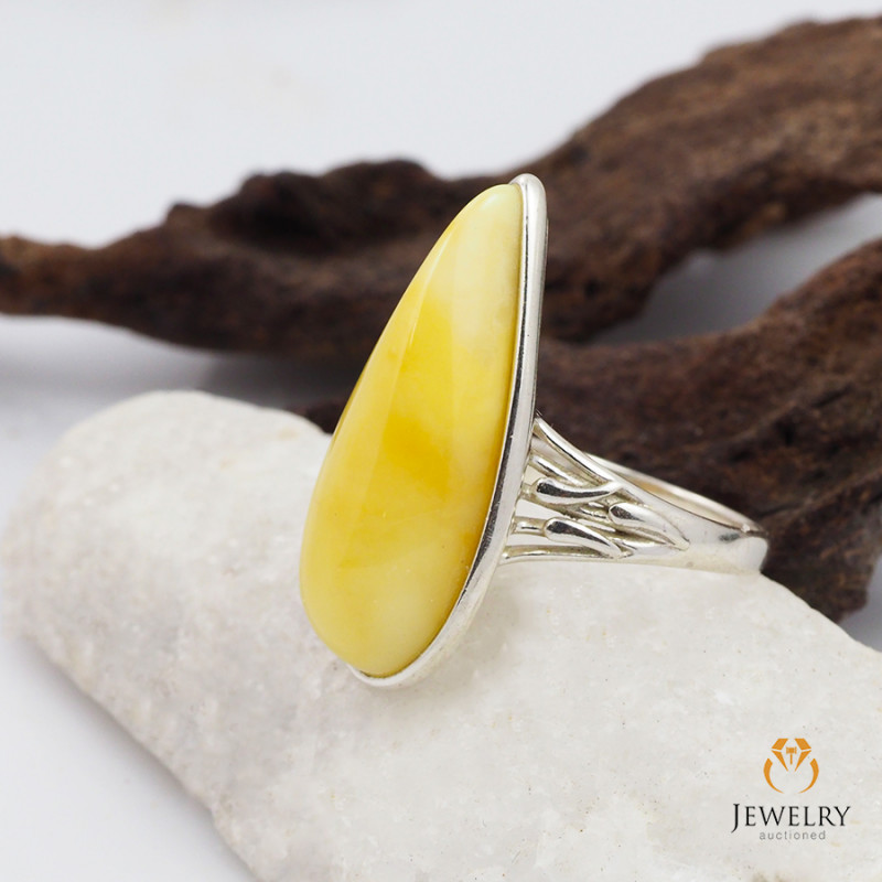 Butterscotch Baltic Amber Sale, SilverRing  , direct from Poland  AM 422