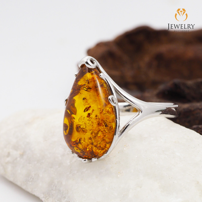 Baltic Amber Sale, Silver Ring  size 9  , direct from Poland  AM 435