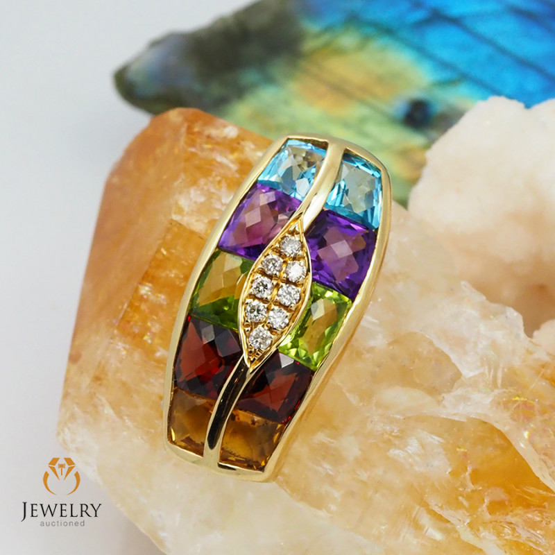 14 K Yellow Gold Multi Gems & Diamond Pendant A P8401 5400
