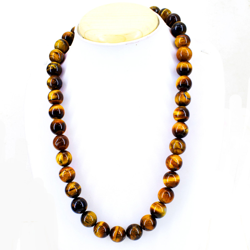 Golden Tiger Eye Round Beads Necklace