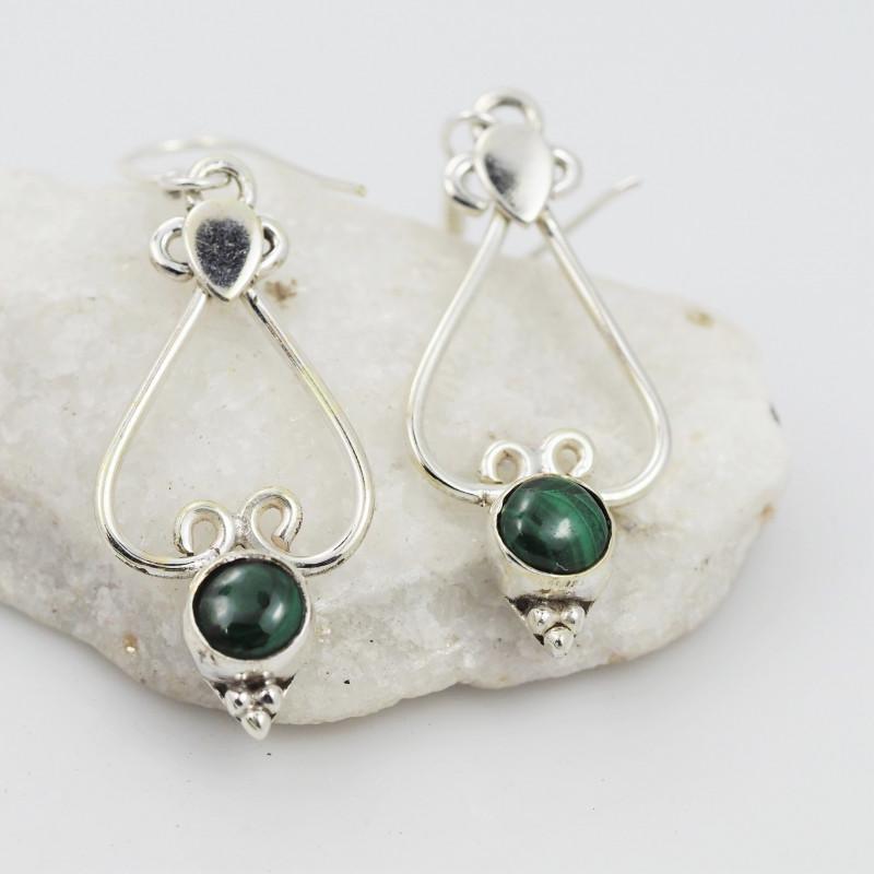 Malachite earrings sheppard hook   AM583