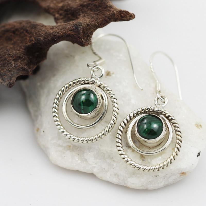Malachite earrings sheppard hook   AM592