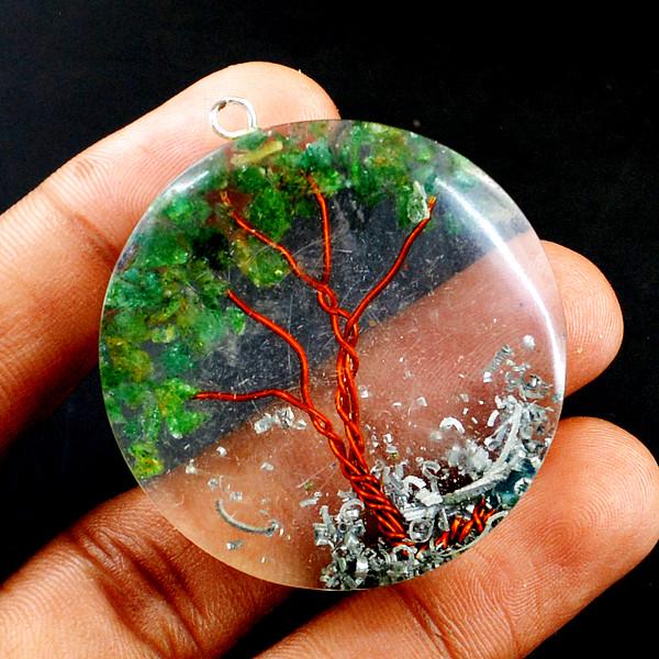 Green Jade Orgone Tree Pendant