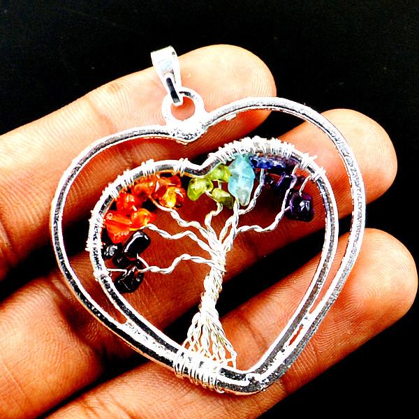 Seven Chakra Silver Heart Pendant