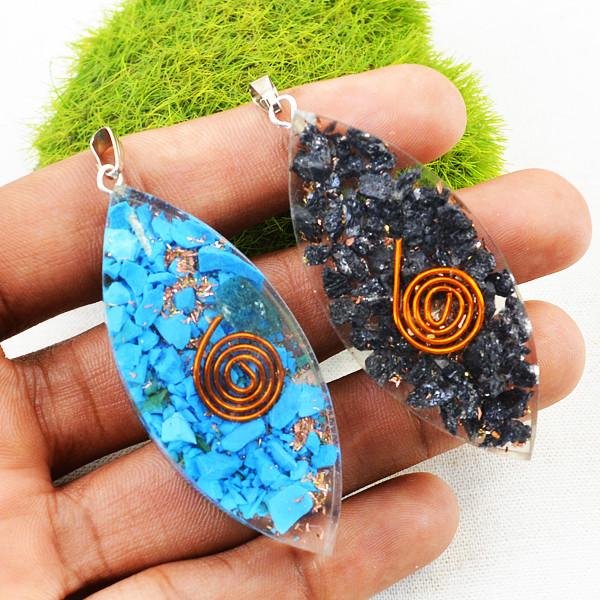 Blue & Black Orgone Pendant Set