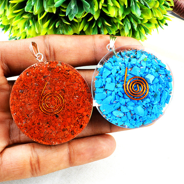 Red Jasper & Blue Onyx Orgone Pendant Set