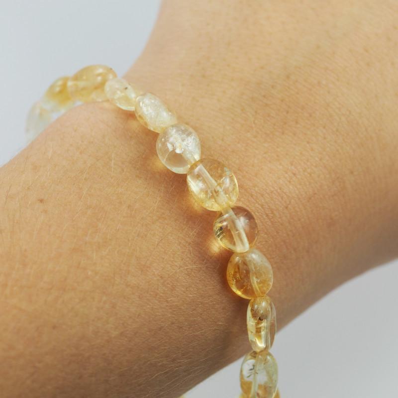 Natural Free form  Citrine Crystal Bead Bracelet  AM 641