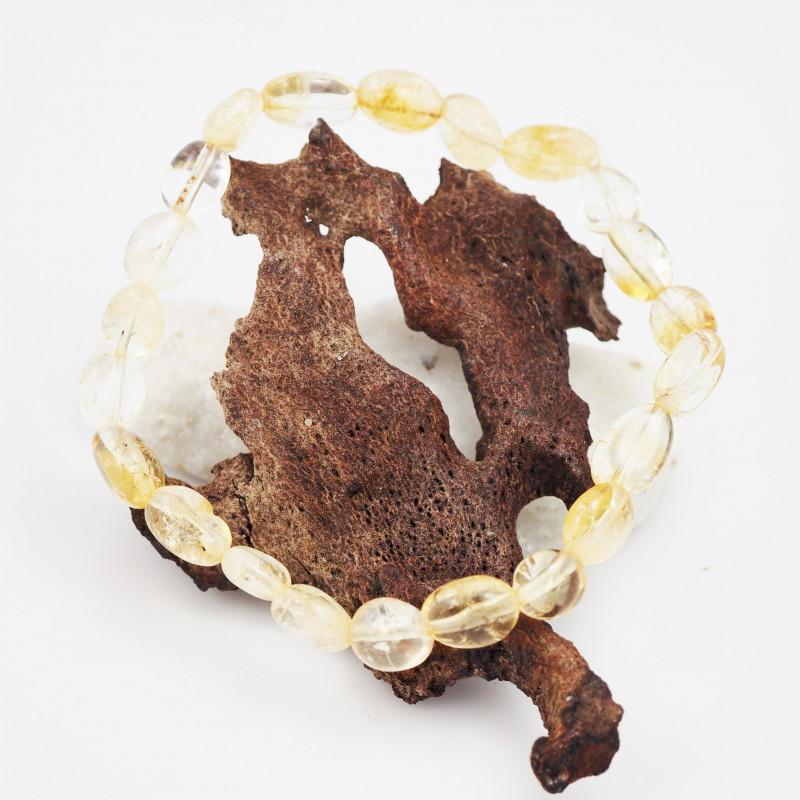 Natural Free form  Citrine Crystal Bead Bracelet  AM 644