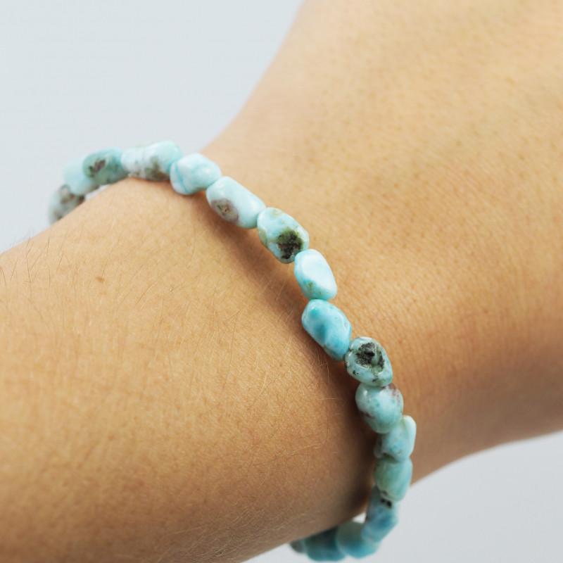 Natural Free Form Larimar  Bead Bracelet  AM 703
