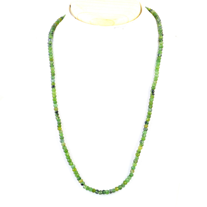 Green Garnet Faceted Round Beads Necklace