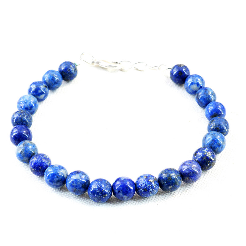 Blue Lapis Lazuli Round Beads Bracelet