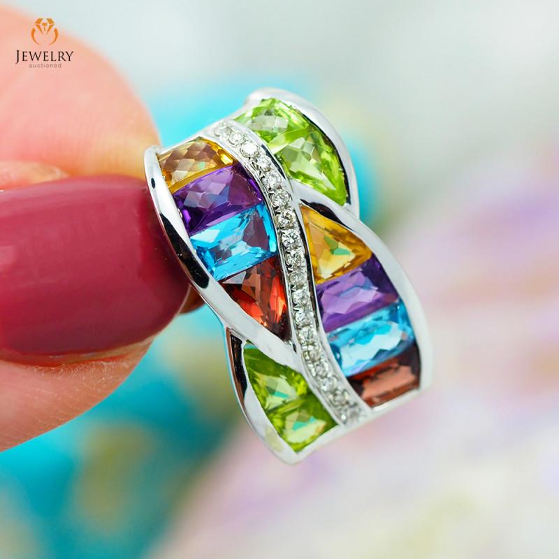 Stylish Modern Assorted Gemstones & Diamonds in Gold Pendant - P 9195 6