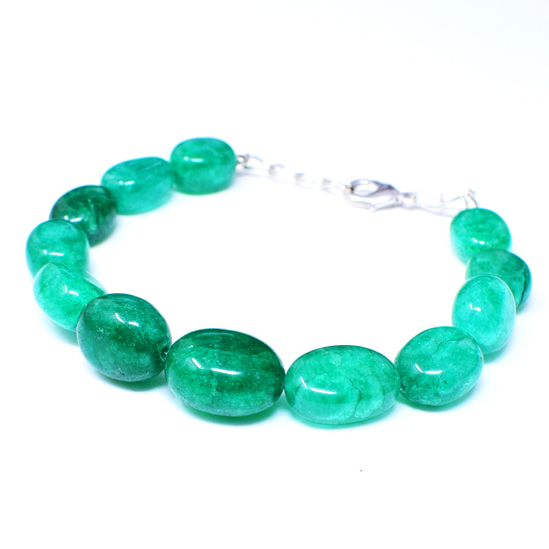 Green Jade Oval Shape Beads Bracelet