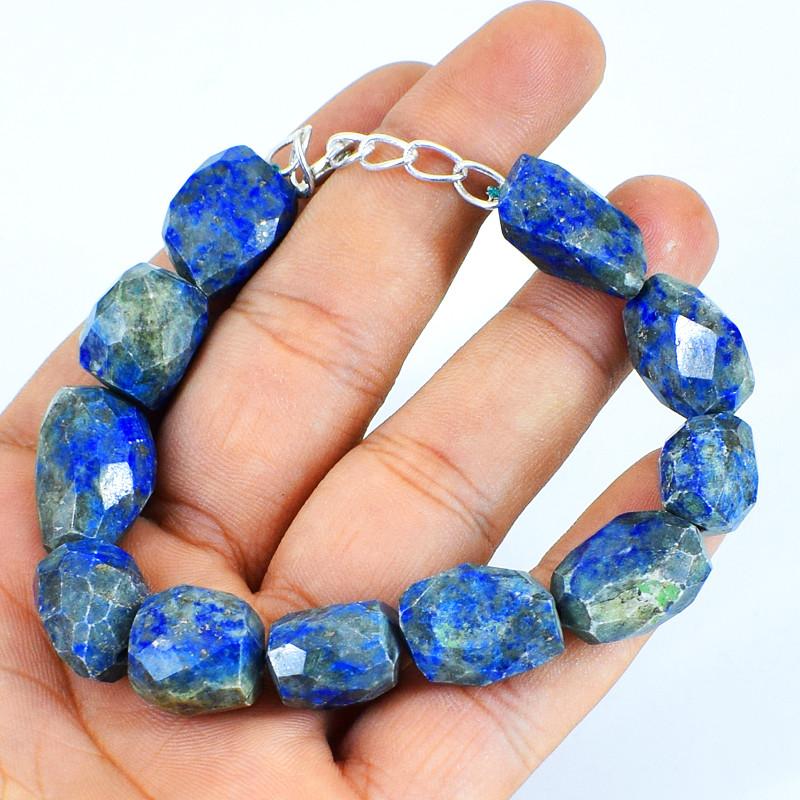 Blue Lapis Lazuli Faceted Beads Brace;et