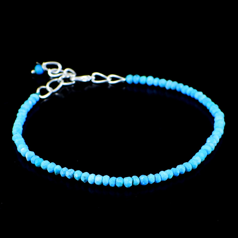 Turquoise Round Faceted Beads Bracelet